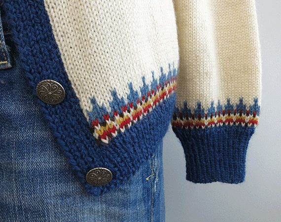 Vintage Nordic Fair Isle Cardigan / 1960s Hand Knit by zestvintage