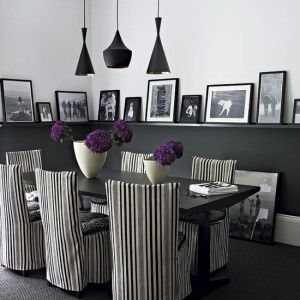 Nice Use Of The Chair Rail In This Black And White Dining Room.