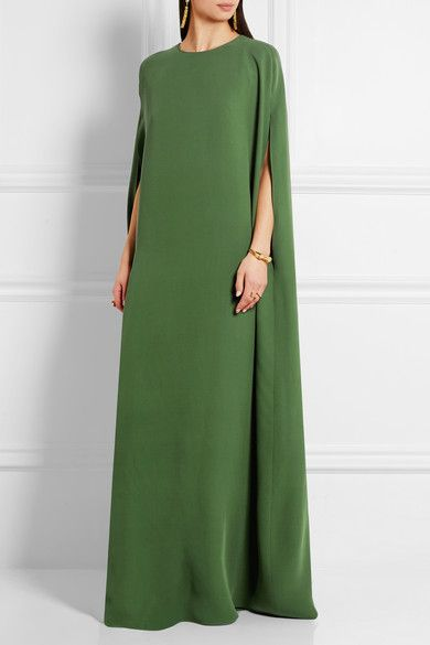 Emerald silk-cady  Concealed hook and zip fastening at back  100% silk Dry clean Made in Italy