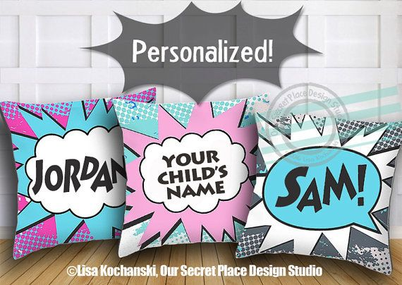 Personalized Superhero Throw Pillow Girls Superhero Bedding Girl Superhero  Decor Girl Superhero Room Girl Superheroes Party Comic Book Decor. 17 Best ideas about Comic Book Rooms on Pinterest   Magazine