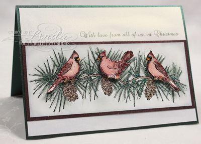 Heartfelt Creations Cardinal Pine Bough Card 1