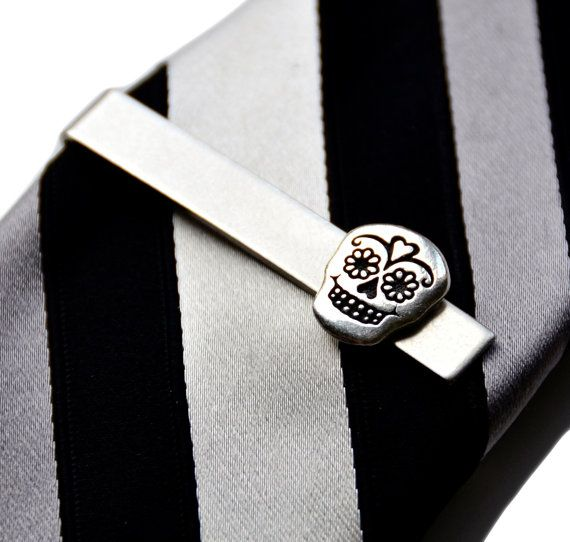 Day of the Dead Tie Clip  Tie Bar  Tie Clasp  by Mancornas on Etsy, $27.00 | See more about Tie Clips, Ties and Handmade Gifts.