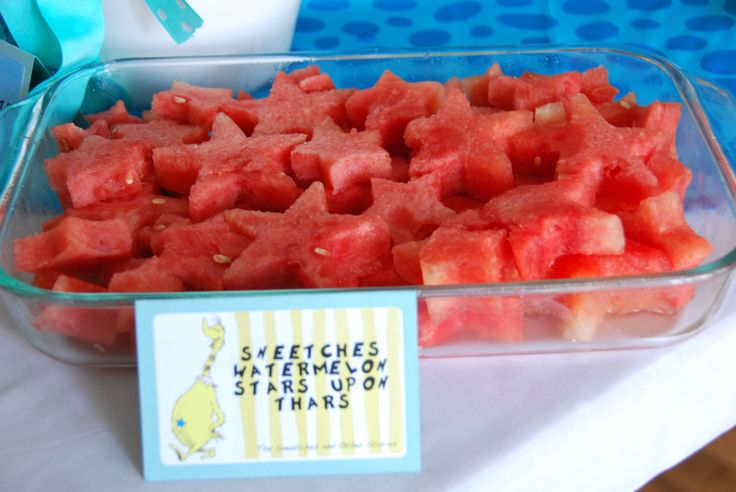 Sneetches Watermelon Stars Upon Thars.  Dr Seuss themed food.