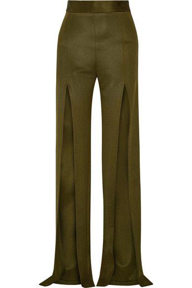 Balmain - Stretch-knit Wide-leg Pants - Army green - FR