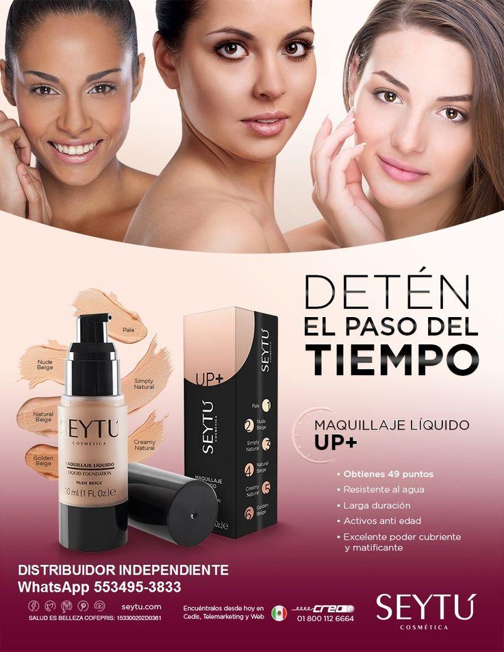 Maquillaje Líquido UP+ a prueba de sudor y agua que permanece en tu piel por horas y horas.