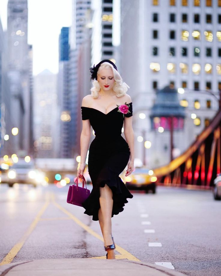 Repost via @chicagochicblog Vintage 1940s Style Black Crepe Off Shoulder Fatale Wiggle Dress