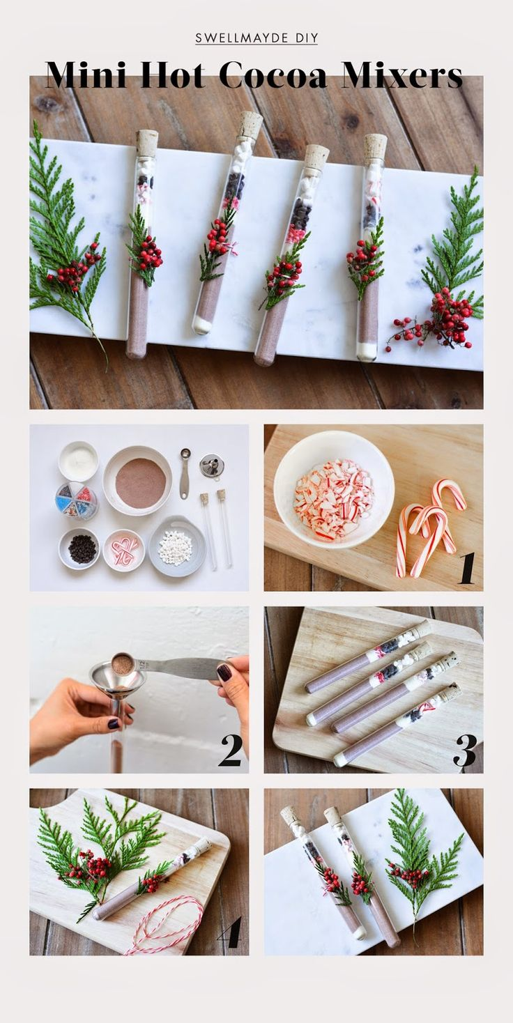"""get-crafty: """"DIY Mini Hot Cocoa Test Tube Mixers These miniature hot chocolate mixes in decorative tubes make great last minute gifts or stocking stuffers! """""""
