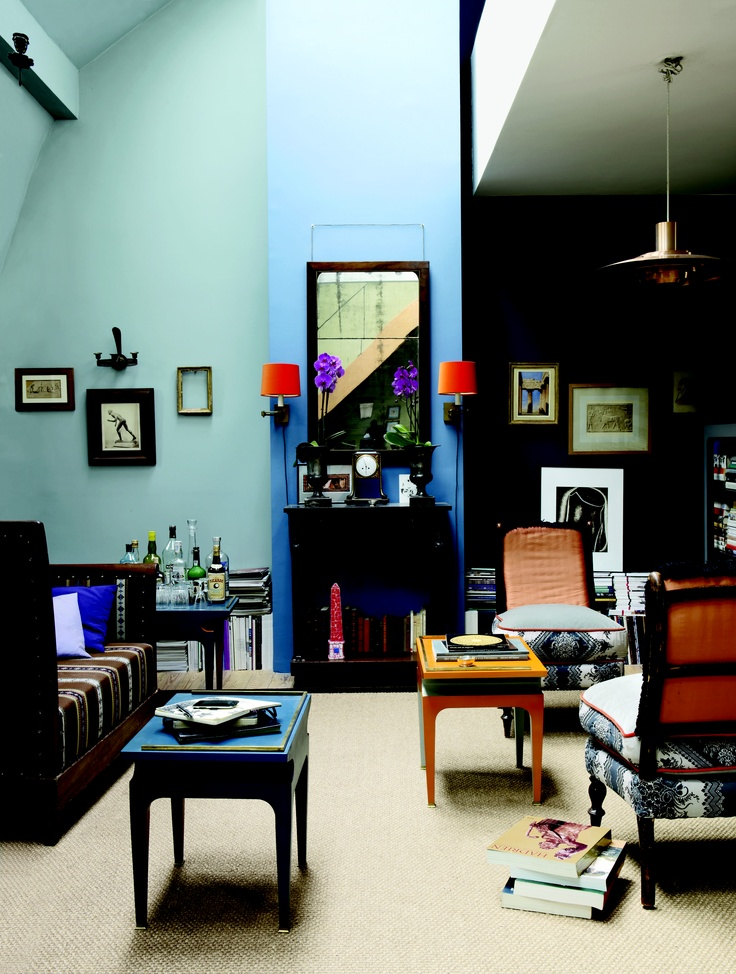 for this attic apartment in brussels french designer bruno de caumont uses regency chairs and. Black Bedroom Furniture Sets. Home Design Ideas