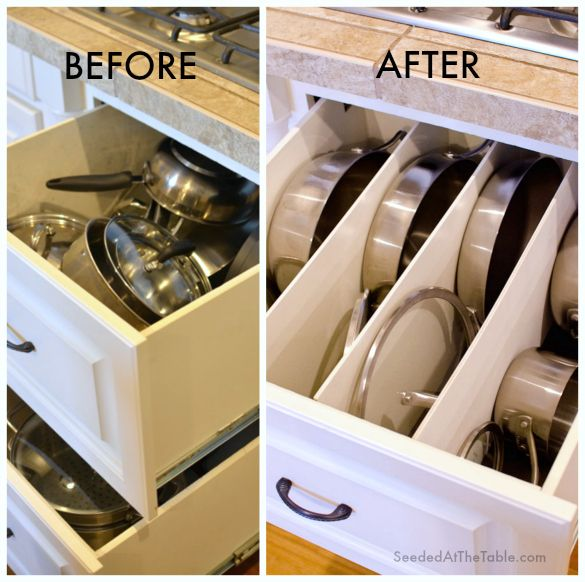 DIY Pots and Pans Drawer Organization by SeededAtTheTable.com @Seeded at the Table   Nikki Gladd