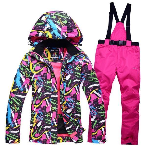 2017 New Ski Team Women's waterproof winter jacket + pants suits thicken women for women's skis snow snowboard sets of breathing