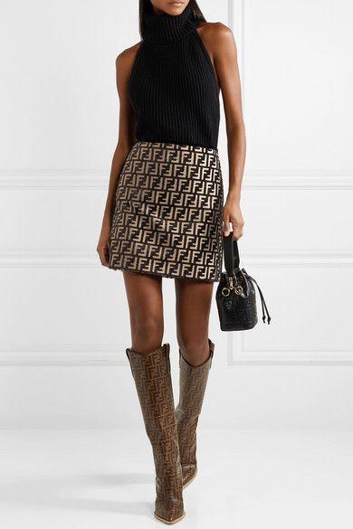 23dbe39c6233 Fendi | Flocked woven mini skirt | NET-A-PORTER.COM | Clothes | Mini ...
