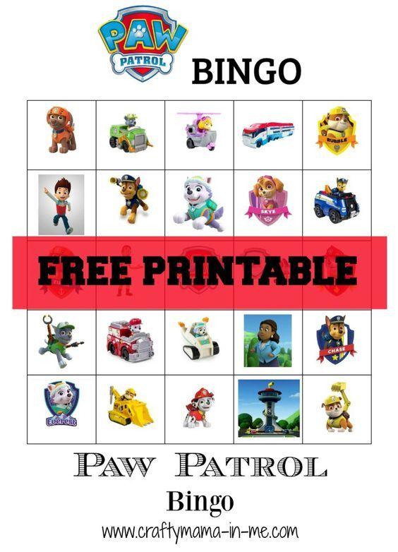 Paw patrol bingo and free printable on pinterest