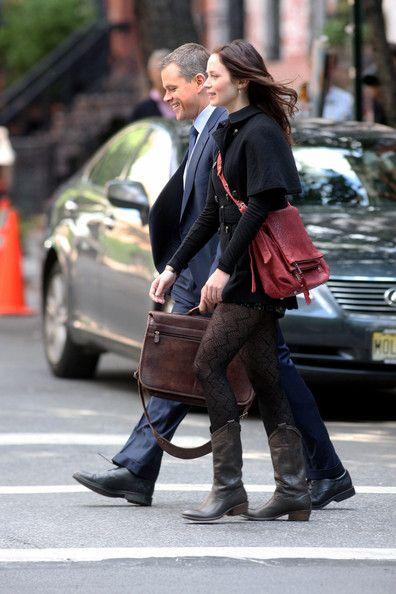 "Emily Blunt and Matt Damon Photos Photos - Matt Damon and Emily Blunt film scenes for ""The Adjustment Bureau"" in the West Village.NON- EXCLUSIVE           October 5, 2009. - Matt Damon and Emily Blunt Film 'The Adjustment Bureau'"
