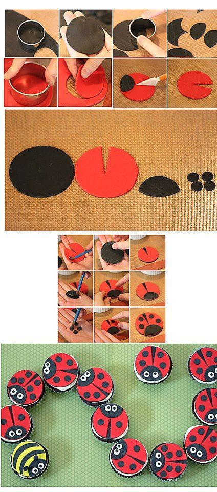 Lady Bug toppers! :) cupcake fondant cake decorating tutorial on how to make ladybug cupcakes; ladybug Oreos