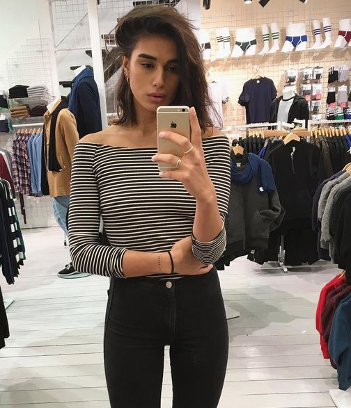 Jill snaps an #AASelfie in the new stripe shirt.  https://www.instagram.com/jillatequilaaa/