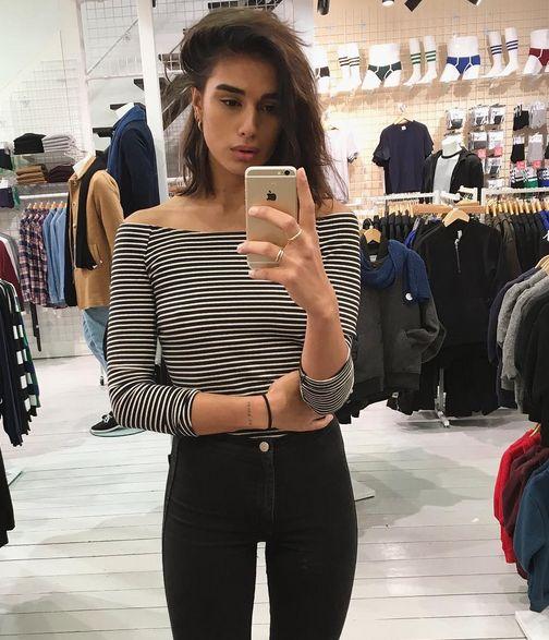 Jill snaps an #AASelfie in the new stripe shirt.  https://www.instagram.com/jillatequilaaa/