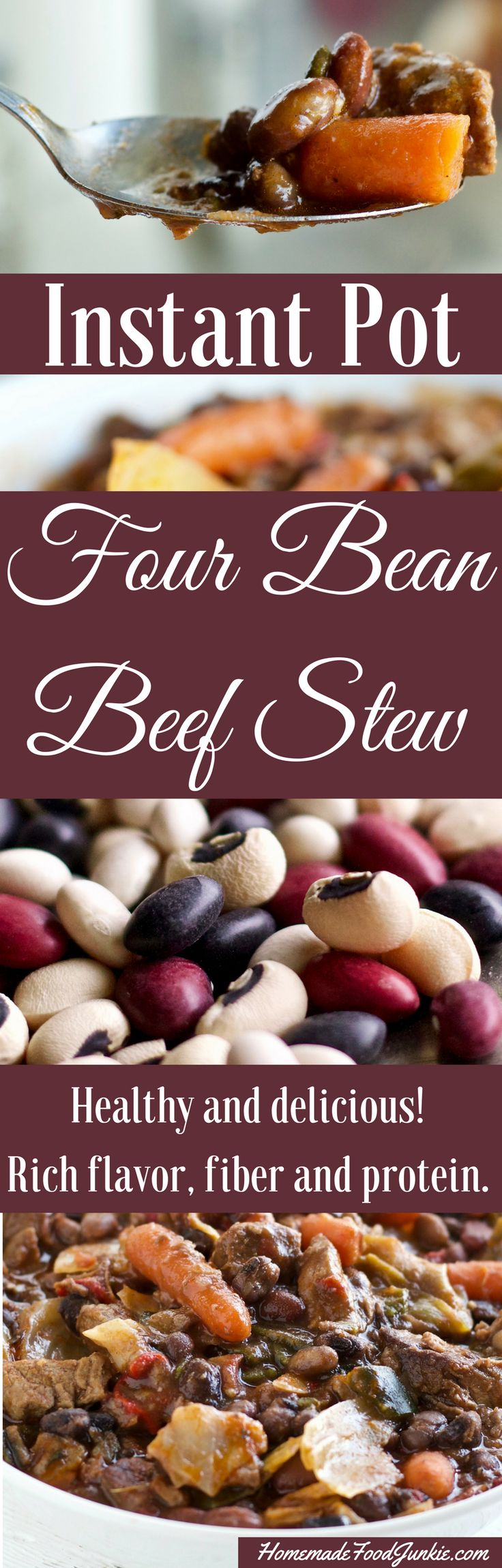 Instant Pot Four Bean Beef Stew is made with healthy dried beans, beef and vegetables. Outstanding flavorful one pot meal