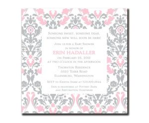 Pink And Grey Damask Baby Shower Invitations