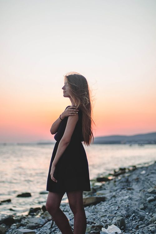 sea, sunset, girl, dress, tan