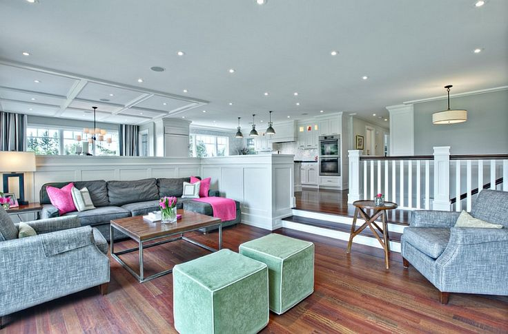 High cupboards that surround the sunken living room also provide ample privacy