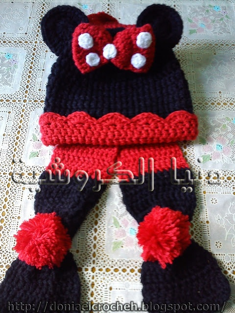 mickey mouse baby scarf and hat