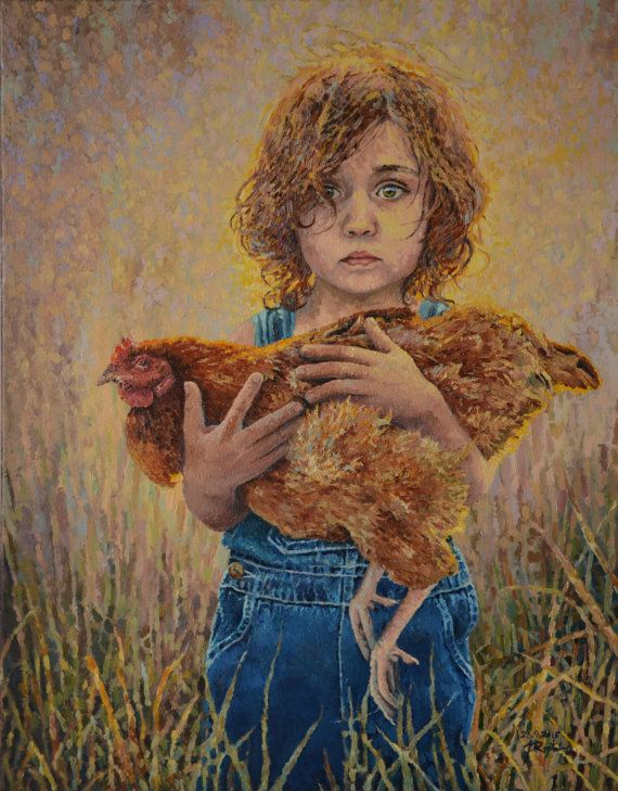 Girl with a brood hen impressionist oil painting by JRajtar