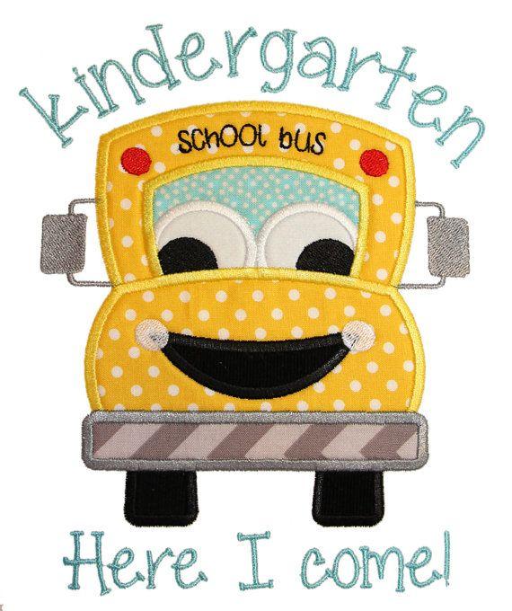 Kindergarten Here I Come Applique Design by AppliqueChick on Etsy
