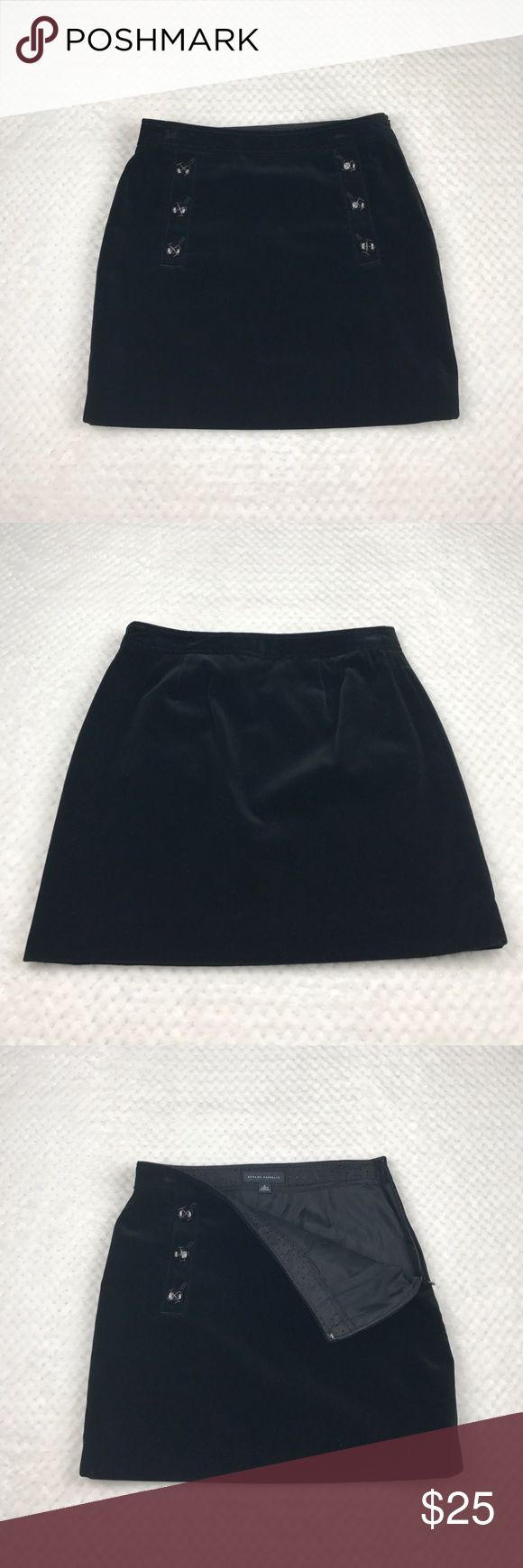 Banana Republic Mini Velour Skirt - Size 0 Black mini skirt from BR.  Size 0. Side zipper. Fully lined.  Functional pockets with decorative buttons.  Minor flaws:  hanger marks on waistband and loose stitch near zipper that is only visible when material is pulled apart. Banana Republic Skirts Mini