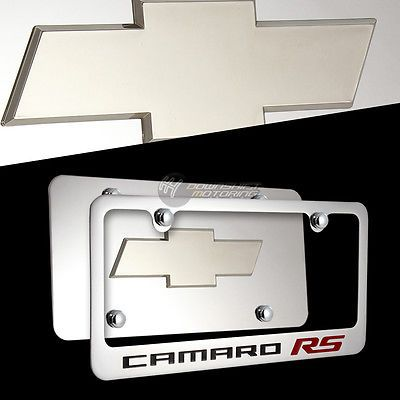 Chevrolet CAMARO RS Stainless Steel License Plate Frame w/ Cap -Front