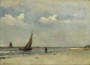 J.H. Weissenbruch, Strandgezicht, olieverf op paneel, 1870-1903, 17.8 x 24.2 cm, collectie Rijksmuseum, Amsterdam