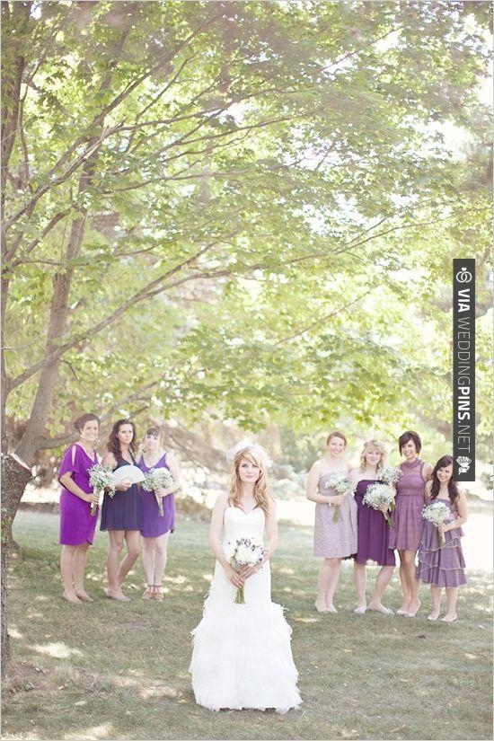 mismatched purple bridesmaid dresses | CHECK OUT MORE IDEAS AT WEDDINGPINS.NET | #bridesmaids