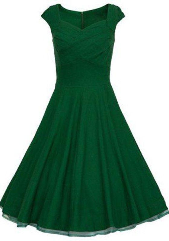 Green Plain Sleeveless Vintage Cotton Midi Dress