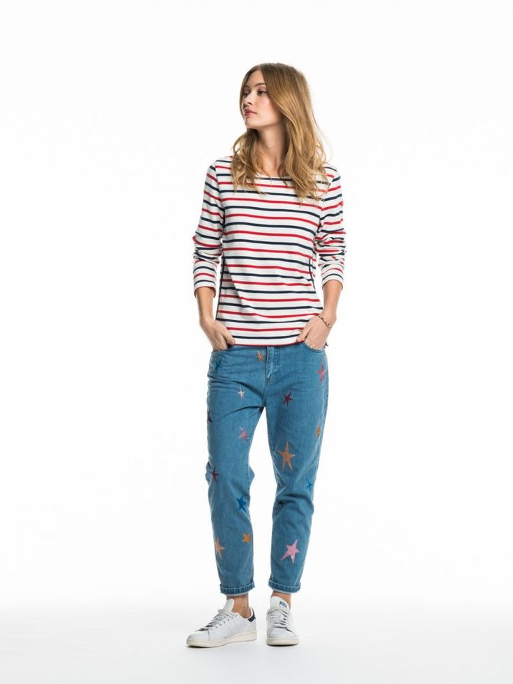 Love this French girl-inspired striped shirt + relaxed denim jeans outfit.