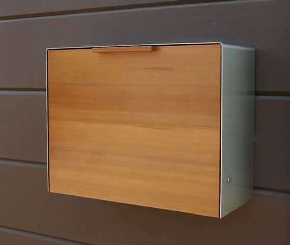 Modern Mailbox Large Cedar and Stainless Steel by CeCeWorks   just love this!!!