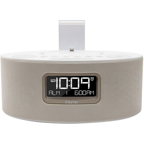 iHome iDL46 Dual-Charging iPad / iPhone / iPod FM Stereo Alarm Clock... ($120) ❤ liked on Polyvore featuring white