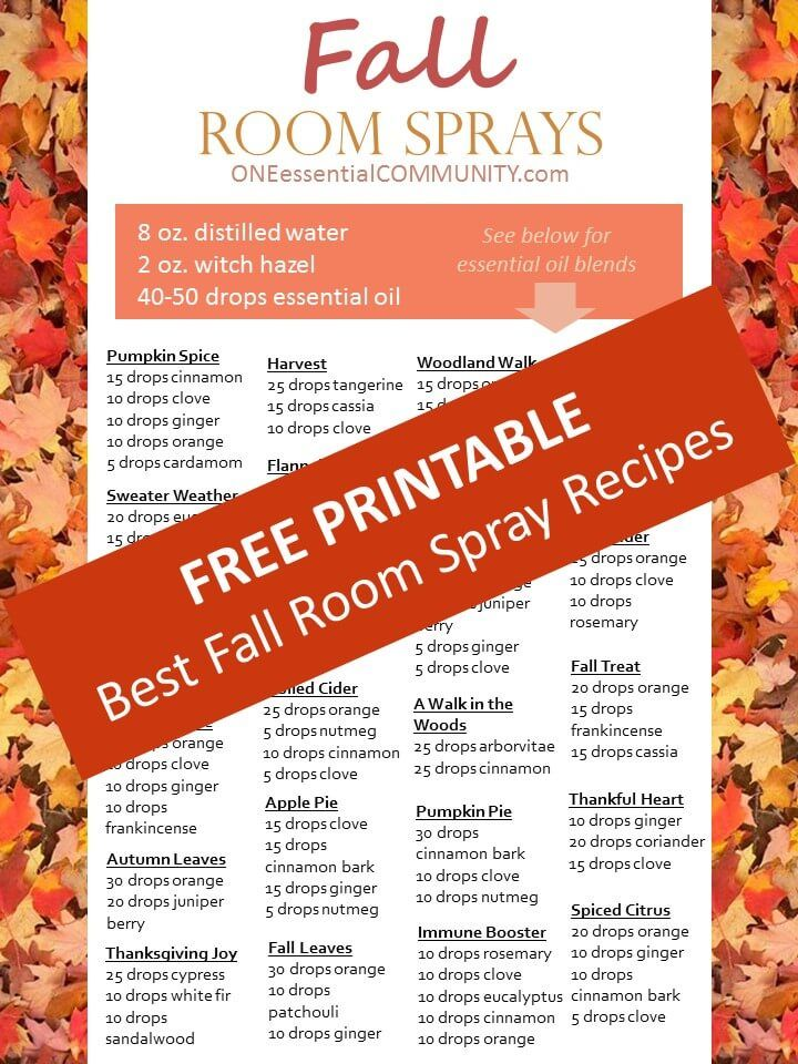20 Fall Room Sprays {made with essential oil} that make your home smell like fall I LOVE fall! The changing colors of the leaves, sweaterweather,
