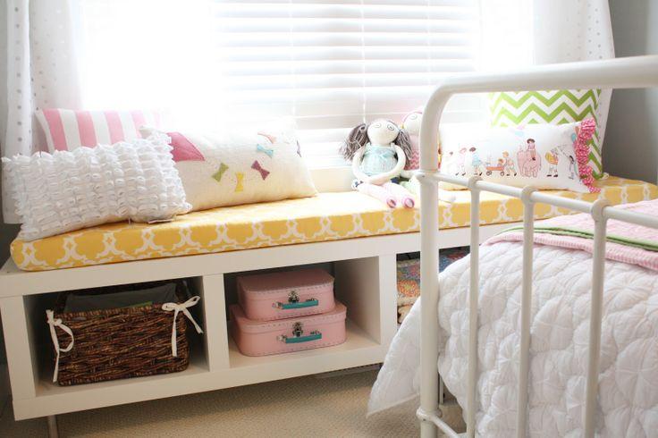 Daffodil Design. IKEA LACK shelf turned sideways, 2 CAPITA leg kits. window…