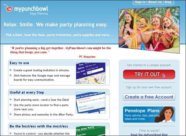 Planning a party is a hassle; invitations needn't be an additional headache. Just jaunt over to MyPunchbowl. The incredibly simple interface actually makes creating your invitation fun, walking you through styles and images, offering themes and suggestions, and even helping locate supplies. Once your invitation is in the wild, a message board is automatically created to let guests chat before the main event.