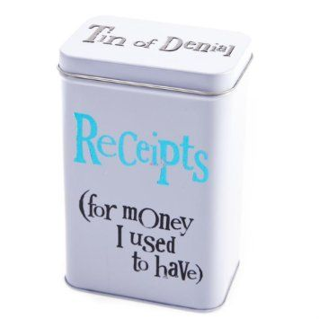 Bright Side Receipts Tin - For Money I Used To Have: Amazon.co.uk: Kitchen & Home