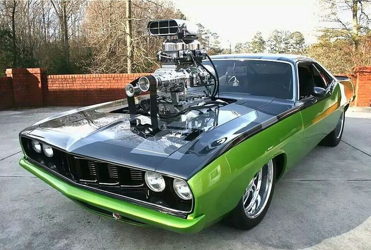 Green Black Plymouth Hemi Cuda Supercharged Gas Money Muscle