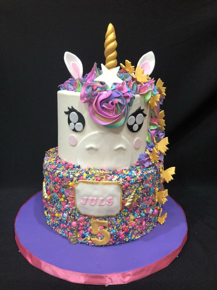 Cute Unicorn Birthday Cake Bright Pinks And Purples With