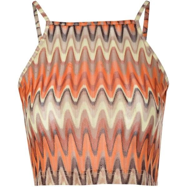 Orange Multi Chevron Print Crop Top ($11) ❤ liked on Polyvore featuring tops, crop top, shirts, tank tops, orange, shirt tops, chevron tops, stretch crop top and print shirts