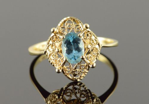 14K-0-75-CT-Blue-Topaz-Filigree-Ring-Size-8-75-Yellow-Gold