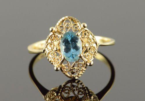 14K-0-75-CT-Blue-Topaz-Filigree-Ring-Size-8-75-Yellow-Gold
