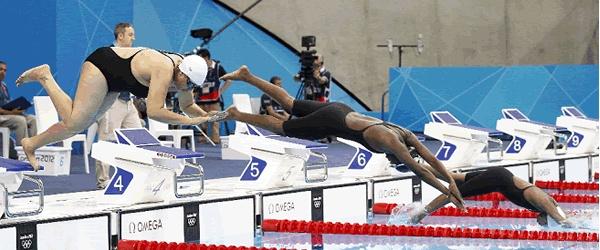 La togolesa Adzo Rebecca Kpossi bajó el viernes en siete segundos su marca personal y derrotó a la lesothense Masempe Theko en el duelo de las más lentas de la natación olímpica en la prueba de 50 metros libres de Londres-2012.
