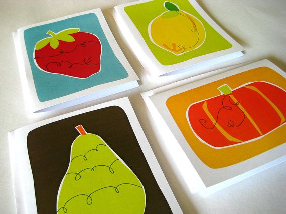 Fresh Produce Four Pack  set of four blank cards by JulieKimDesign