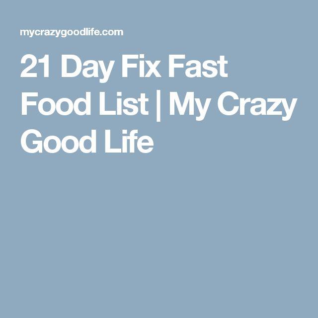 Day Fix Fast Food List