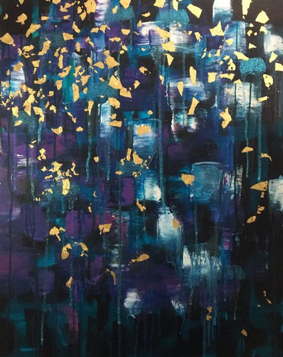 Olga - Beautiful, Abstract, Original, Acrylic, Canvas, Painting, Tapestry, Purple, Gold Leaf, Aqua, Blue, Glitter, Pattern, Modern, Art