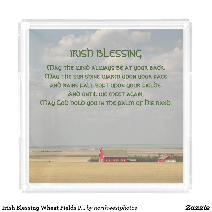 Irish Blessing Wheat Fields Photo Serving Tray