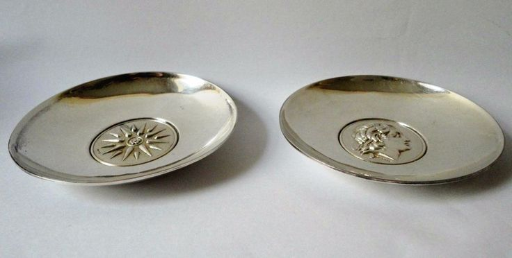 Sterling silver set of two vintage bowls (Alexander the Great, Vergina Star/Sun #Lalaounis
